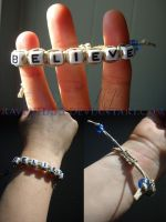 Commission: Believe Adjustable Bracelet by lynneabrunner