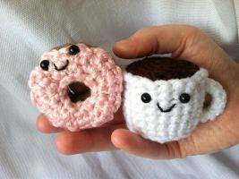 Amigurumi Coffee and Donut by NerdStitch