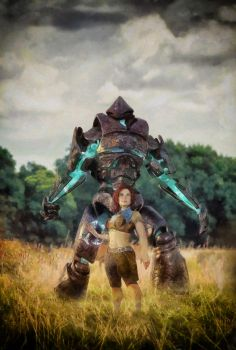A girl and her Golem by DMantz