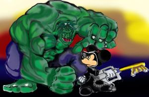 Mickey Mouse and The Hulk by gorillagraffix