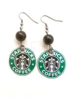 Starbucks Recycled Handmade Earrings by AbsoluteJewelry