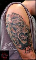 Lion on process by Reddogtattoo
