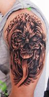 Evil Skull cover up tattoo by thirteen7s