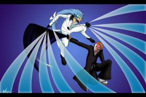 :Commission: Grimmjow vs Ichigo by GuardianOfTheFlame