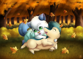 Commission: Autumn Hugs by RainbowRose912