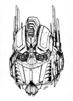 Movie Optimus Prime Head- inks by channandeller