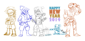 + WIP: HAPPY NEW YEAR 2014 ! + by Yore-Donatsu