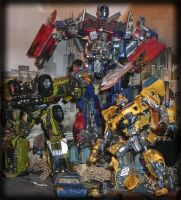 Optimus Prime, Ratchet and Bumblebee by Catskind