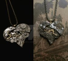 Steampunk Pendant --- Two More Hearts Dec.2013 by x-Metal-Journey-x