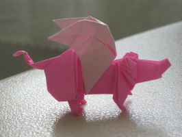 Origami Flying Pig by SaberFireTiger