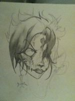 Zombie Girl pencil sketch by Toxic-Puppies