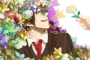 Himuro and Flowers by Breetroad
