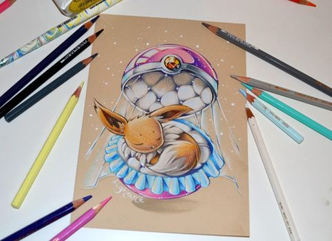 Sleeping Eevee by Lighane