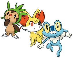 Who is your starter in Pokémon X/Y? Kalos_starters_dream_world_by_krocf4-d6mjdo4