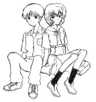 Shy couple -- Rei and Shinji by tailchan