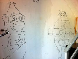 Ape and Turtle Mural by MATTROSENART