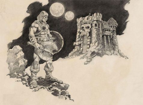 He-man and Grayskull pencils by NathanRosario