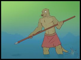 Spearfishing Otter by Temiree