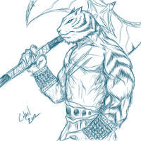 First Muro Sketch Online Session - Tiger Warrior by chanchan222