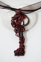 Gothic red skeleton key pendant necklace by SwanStarDesigns