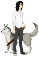 A man and his dog. by Siumi-Chan