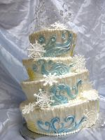 Winter Wonderland Wedding Cake by forgetmmenot