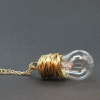 Steampunk Necklace Brass Light Bulb by Tanith-Rohe
