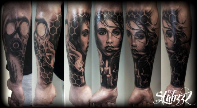 gasmask chick smoke portrait Sleeve tattoo by CalebSlabzzzGraham