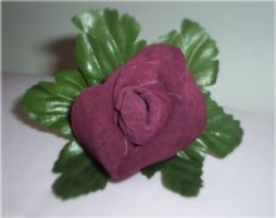 Burgundy Suede Rose -  Pin On by Deena6969