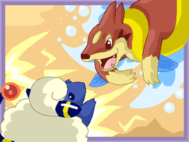 floatzel vs mareep by Lilchan16