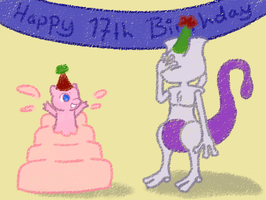 Happy 17th birthday Mewtwo by Sheimii