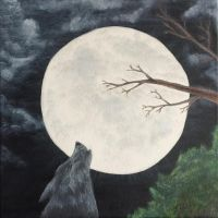 Howling Wolf in the Night by JunoStevens