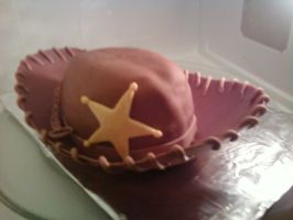 Sheriff Woody's Hat Cake by squeesqueak