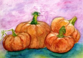 Pumpkins in watercolour by Papusiaa