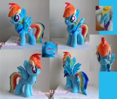 My first Rainbow Dash plushie (SOLD) by moggymawee