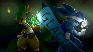 Glaceon and Leafeon Pokemon by BiyomonCuty