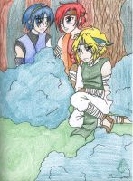 Ninja Link, Marth, and Roy by AngelicDragonElf