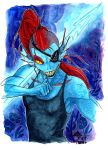 Undyne draws her finger across her neck (colo) by Faol-bigbadwolf