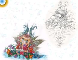 Fountain Fairy w. ink version by SparkletteMachina