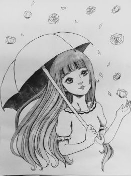 Shower of Flowers Inked by Lily-L