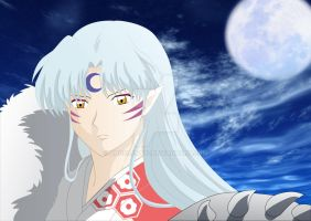 Sesshoumaru in the moon light by Angelcat37