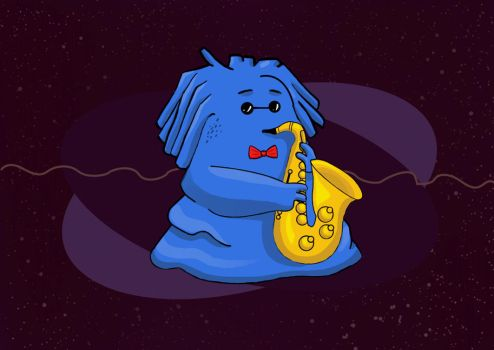 Alien playing jazz instrument. by MeggieMoosie