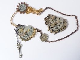 Steampunk Necklace Real Vs Fake - Metal and Clay by Rhyara