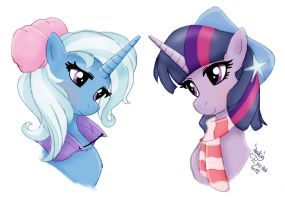 MLP FIM - Trixie and Twilight Sparkle by Joakaha