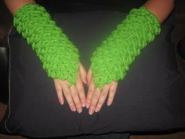 Dragon Scale Gauntlets: Lime Green by WillowForrestall