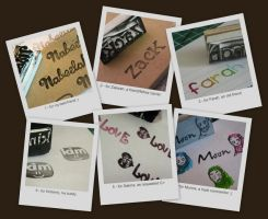 Hand-carved name stamps by aneesah