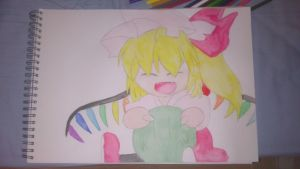 [Watercolor] Flandre Scarlet and a dango by BakApple