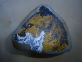 Rock painting - Red Fox by ArcticIceWolf