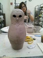 Owl Light Vessel WIP by ashleigheperry