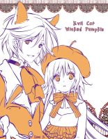 Evil Cat and Wicked Pumpkin by inma